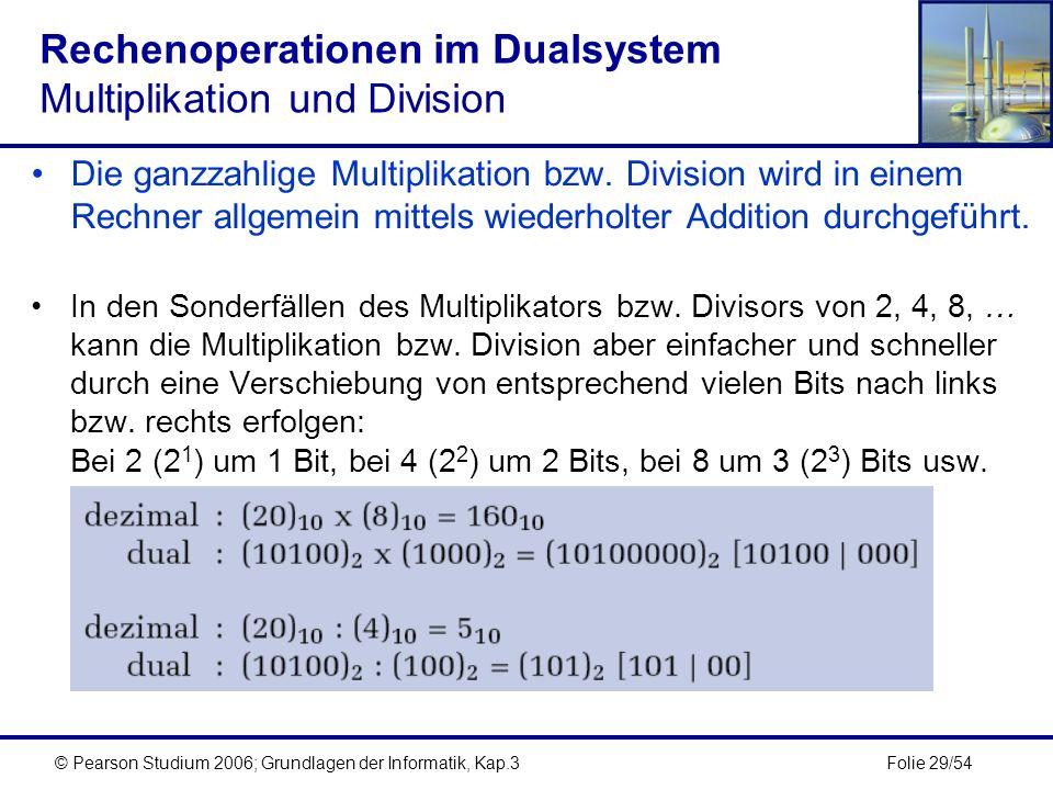 Folie 29/54© Pearson Studium 2006; Grundlagen der Informatik, Kap.3 Rechenoperationen im Dualsystem Multiplikation und Division Die ganzzahlige Multip