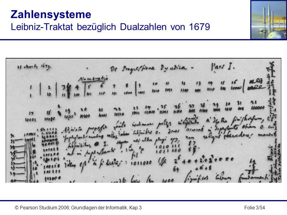 Folie 3/54© Pearson Studium 2006; Grundlagen der Informatik, Kap.3 Zahlensysteme Leibniz-Traktat bezüglich Dualzahlen von 1679