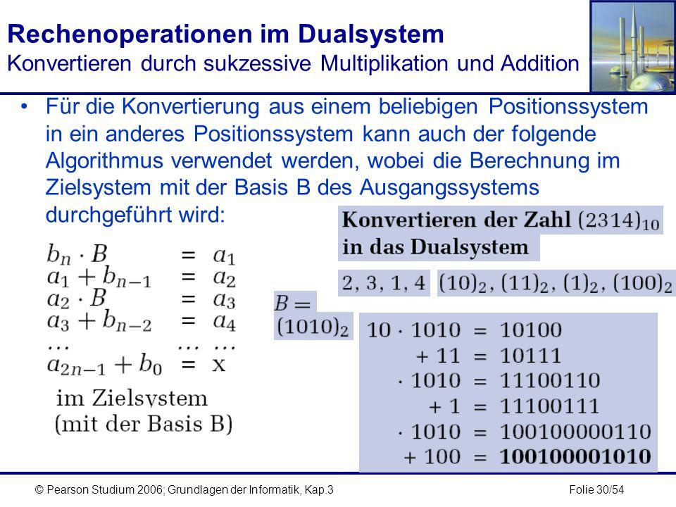 Folie 30/54© Pearson Studium 2006; Grundlagen der Informatik, Kap.3 Rechenoperationen im Dualsystem Konvertieren durch sukzessive Multiplikation und A