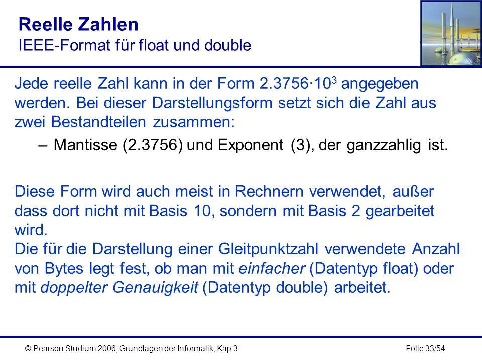 Folie 33/54© Pearson Studium 2006; Grundlagen der Informatik, Kap.3 Reelle Zahlen IEEE-Format für float und double Jede reelle Zahl kann in der Form 2