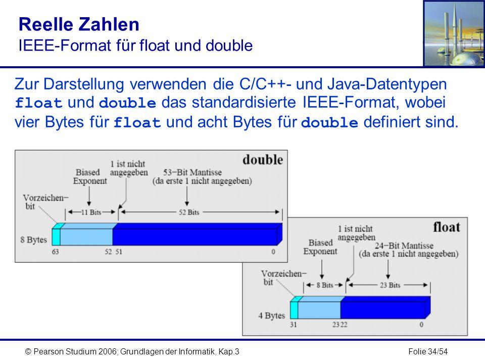 Folie 34/54© Pearson Studium 2006; Grundlagen der Informatik, Kap.3 Reelle Zahlen IEEE-Format für float und double Zur Darstellung verwenden die C/C++