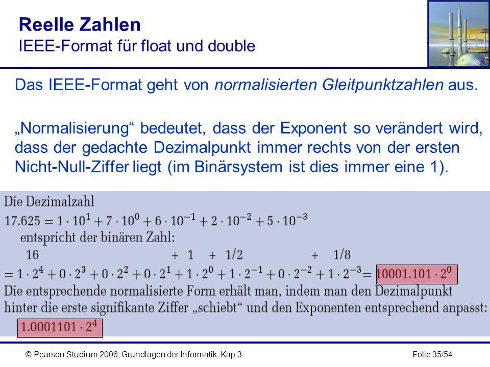 Folie 35/54© Pearson Studium 2006; Grundlagen der Informatik, Kap.3 Reelle Zahlen IEEE-Format für float und double Das IEEE-Format geht von normalisie