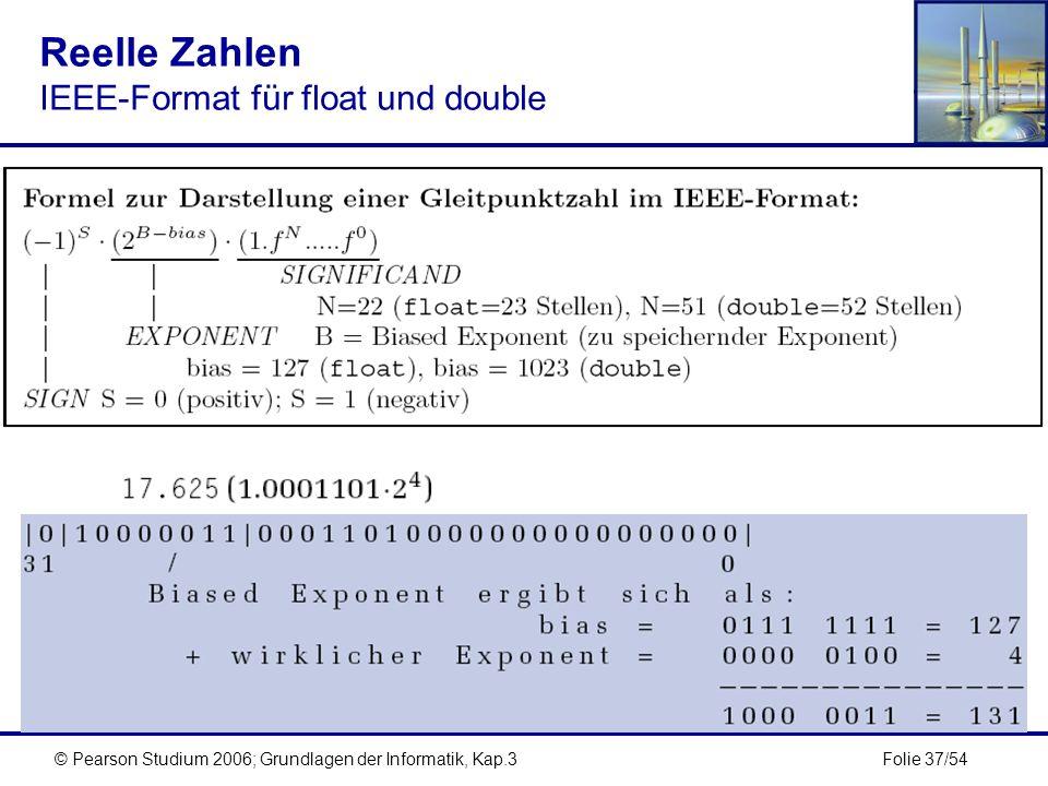 Folie 37/54© Pearson Studium 2006; Grundlagen der Informatik, Kap.3 Reelle Zahlen IEEE-Format für float und double