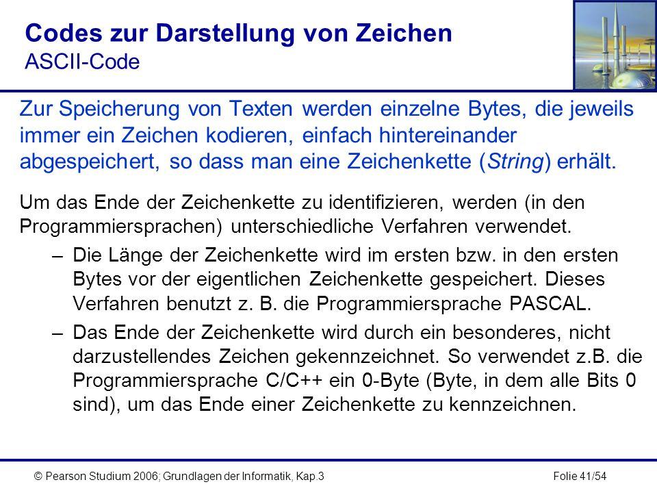 Folie 41/54© Pearson Studium 2006; Grundlagen der Informatik, Kap.3 Codes zur Darstellung von Zeichen ASCII-Code Zur Speicherung von Texten werden ein