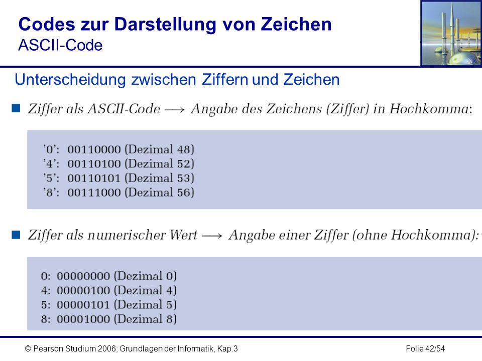 Folie 42/54© Pearson Studium 2006; Grundlagen der Informatik, Kap.3 Codes zur Darstellung von Zeichen ASCII-Code Unterscheidung zwischen Ziffern und Z