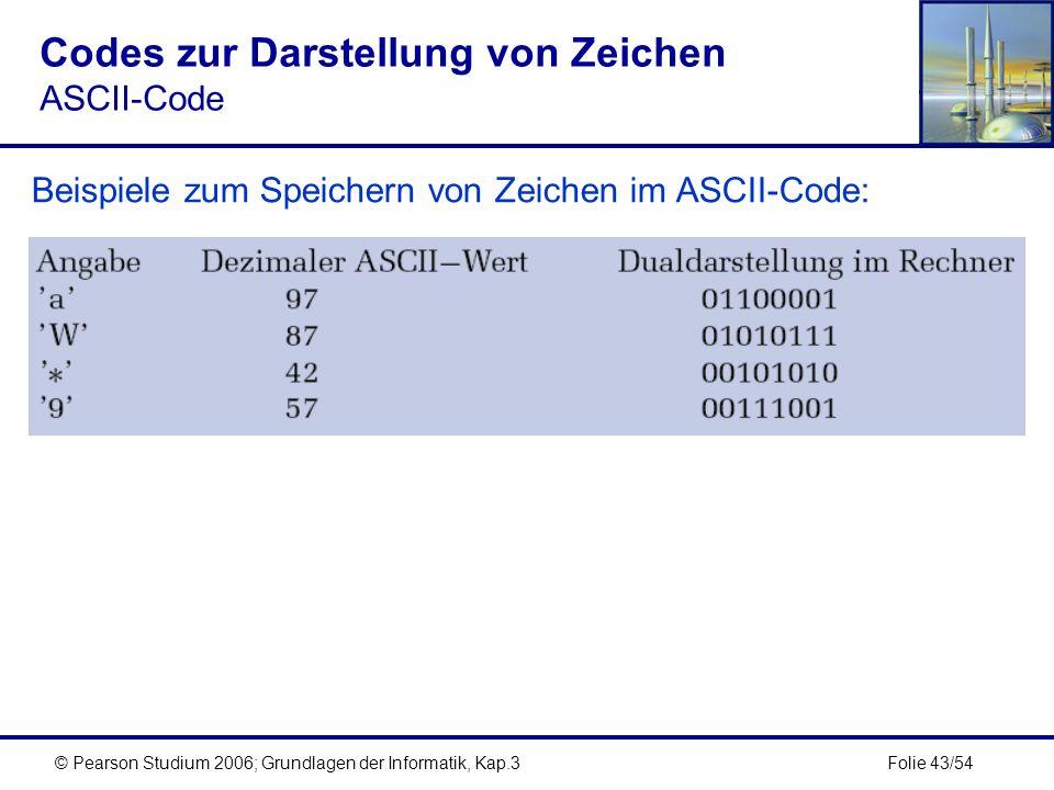 Folie 43/54© Pearson Studium 2006; Grundlagen der Informatik, Kap.3 Codes zur Darstellung von Zeichen ASCII-Code Beispiele zum Speichern von Zeichen i