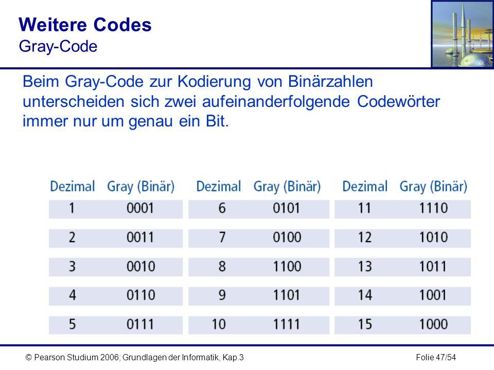 Folie 47/54© Pearson Studium 2006; Grundlagen der Informatik, Kap.3 Weitere Codes Gray-Code Beim Gray-Code zur Kodierung von Binärzahlen unterscheiden