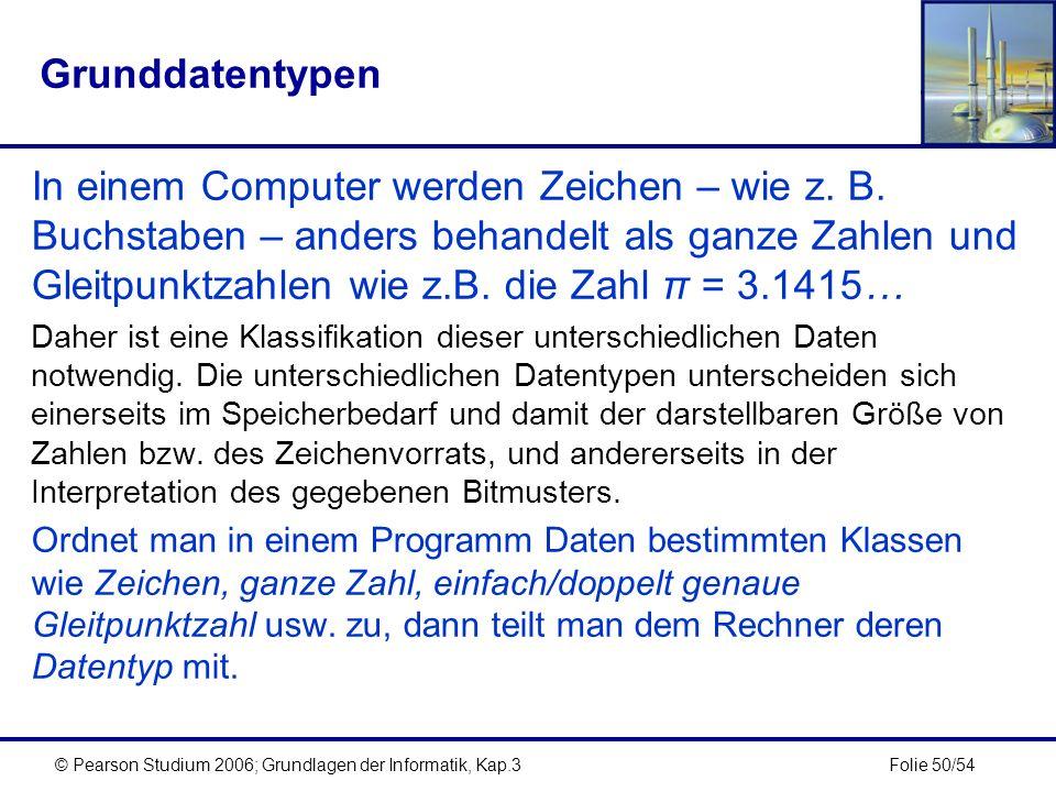 Folie 50/54© Pearson Studium 2006; Grundlagen der Informatik, Kap.3 Grunddatentypen In einem Computer werden Zeichen – wie z. B. Buchstaben – anders b