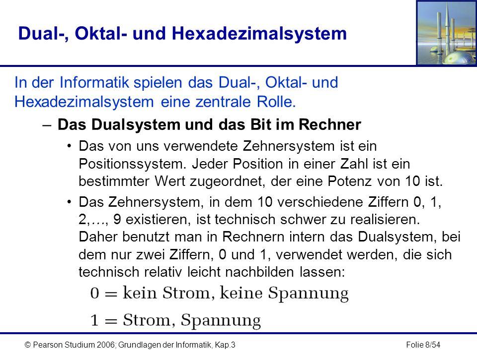 Folie 9/54© Pearson Studium 2006; Grundlagen der Informatik, Kap.3 Dual-, Oktal- und Hexadezimalsystem Eine einzelne Binärstelle (0 oder 1), die ein Rechner speichert,wird als Bit bezeichnet.