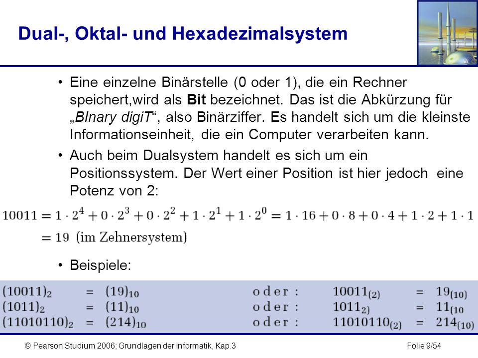 Folie 20/54© Pearson Studium 2006; Grundlagen der Informatik, Kap.3 Konvertieren unecht gebrochener Zahlen Um eine unecht gebrochene Zahl zu konvertieren, muss diese in ihren ganzzahligen Teil und ihren echt gebrochenen Teil aufgeteilt werden, die dann getrennt von einander zu konvertieren sind.