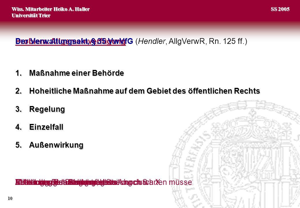 Wiss. Mitarbeiter Heiko A. Haller Universität Trier 10 SS 2005 Problem: Allgemeinverfügung Problem: Allgemeinverfügung (Hendler, AllgVerwR, Rn. 125 ff
