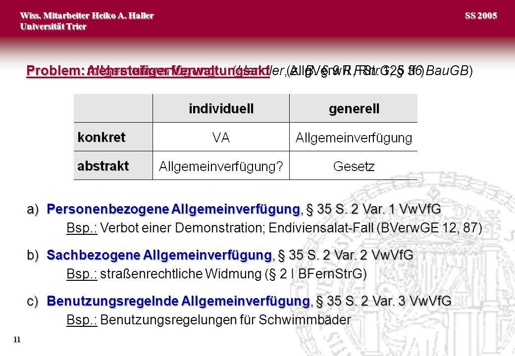 Wiss. Mitarbeiter Heiko A. Haller Universität Trier 11 SS 2005 Problem: Allgemeinverfügung Problem: Allgemeinverfügung (Hendler, AllgVerwR, Rn. 125 ff