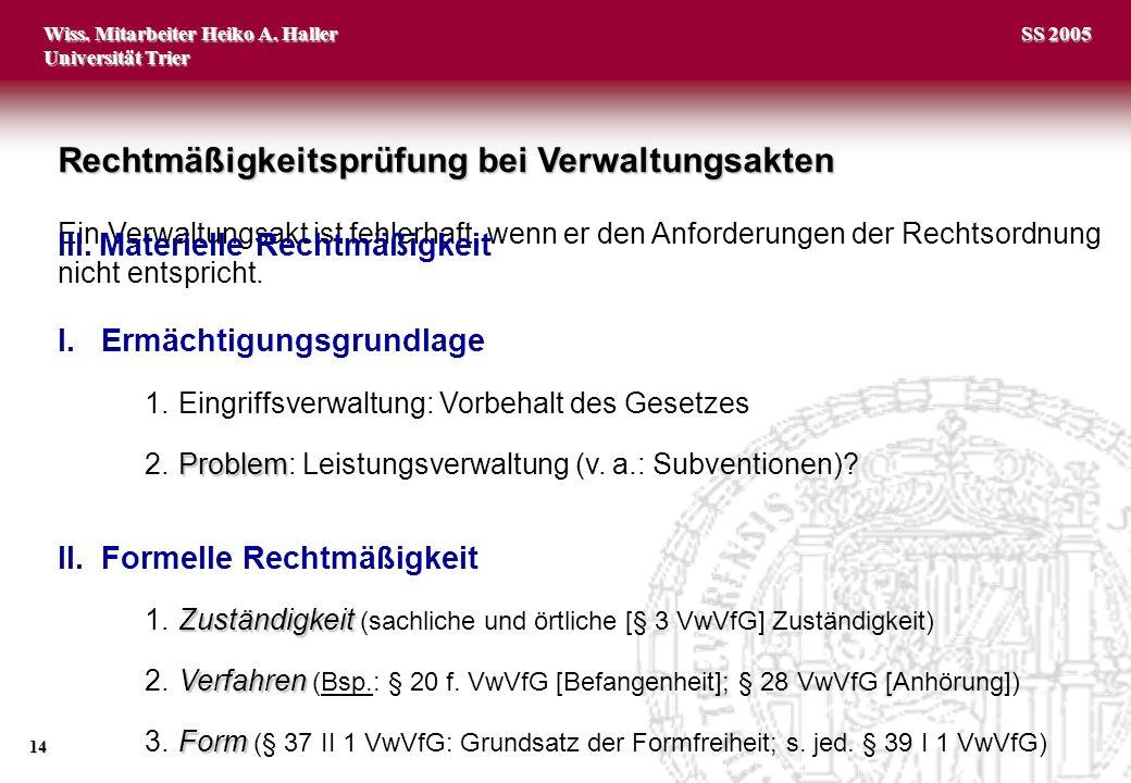 Wiss. Mitarbeiter Heiko A. Haller Universität Trier 14 SS 2005 Ein Verwaltungsakt ist fehlerhaft, wenn er den Anforderungen der Rechtsordnung nicht en