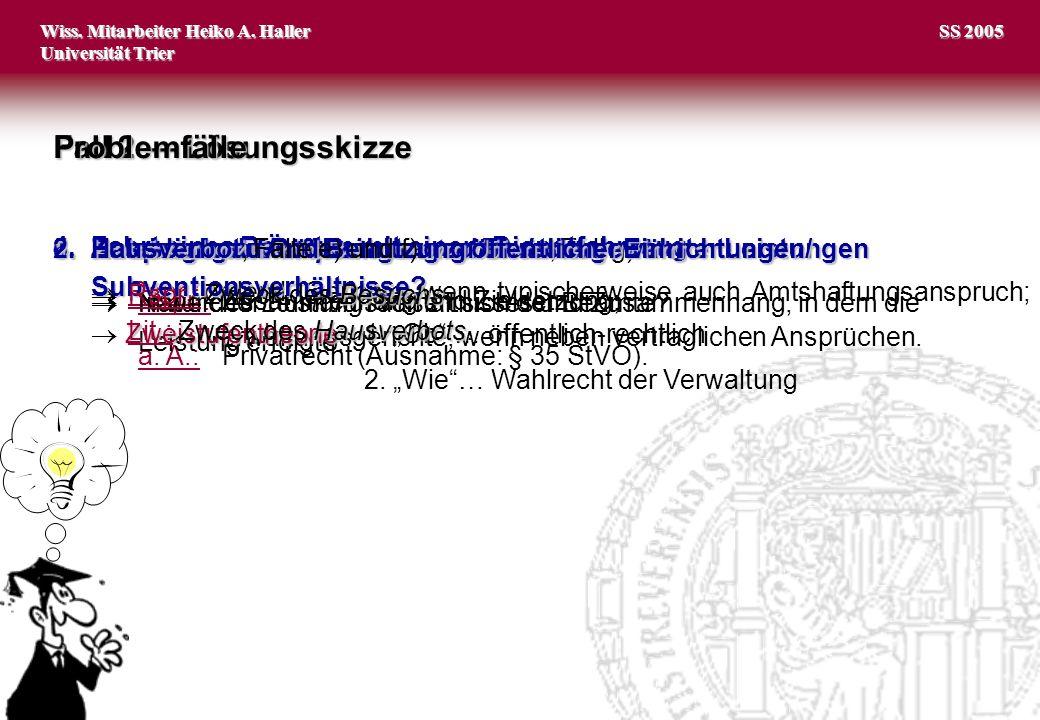 Wiss.Mitarbeiter Heiko A. Haller Universität Trier 4 SS 2005 Fall 2 Lösungsskizze I.