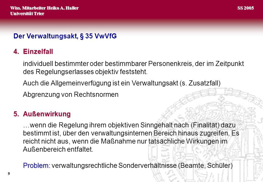 Wiss. Mitarbeiter Heiko A. Haller Universität Trier 9 SS 2005 4.Einzelfall individuell bestimmter oder bestimmbarer Personenkreis, der im Zeitpunkt de