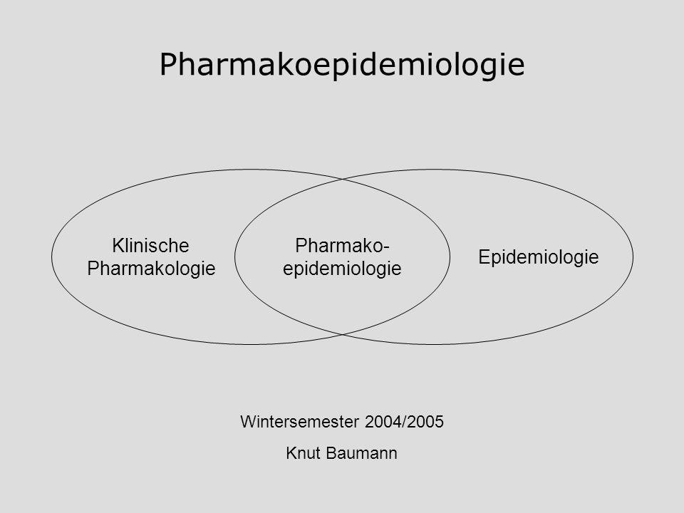 Pharmakoepidemiologie Pharmako- epidemiologie Klinische Pharmakologie Epidemiologie Wintersemester 2004/2005 Knut Baumann