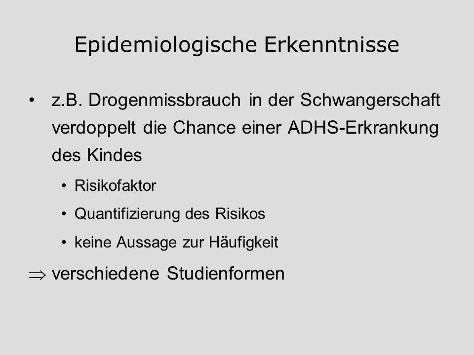 Epidemiologische Erkenntnisse z.B. Drogenmissbrauch in der Schwangerschaft verdoppelt die Chance einer ADHS-Erkrankung des Kindes Risikofaktor Quantif