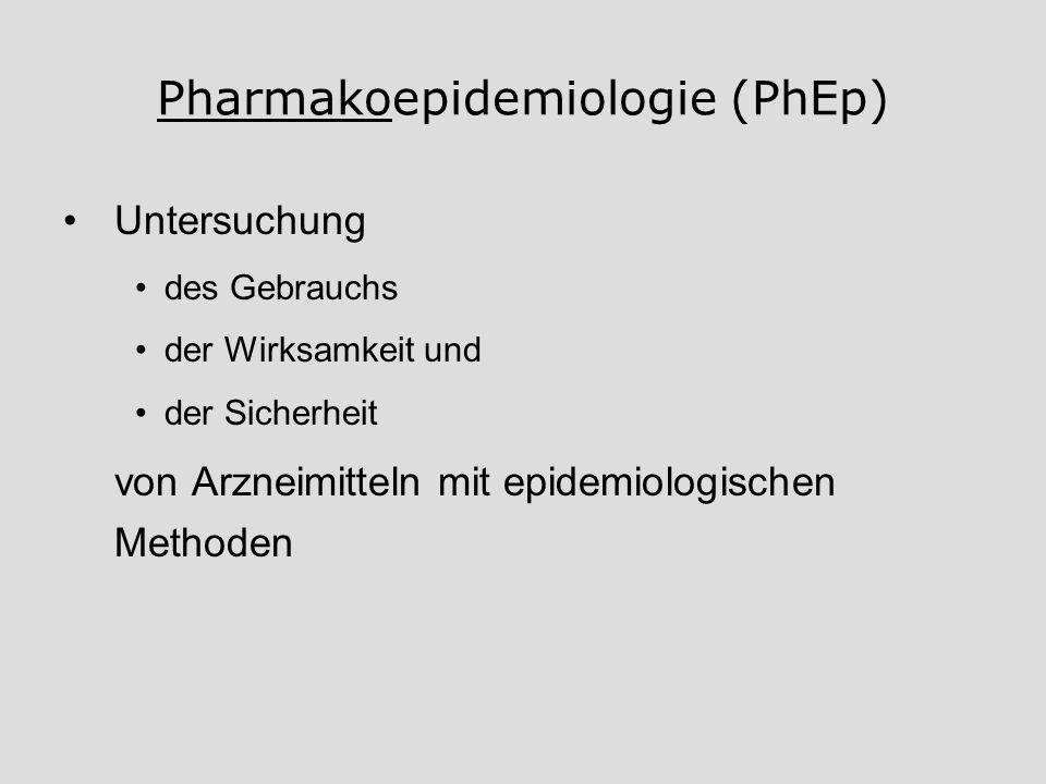 Pharmakoepidemiologie (PhEp) Untersuchung des Gebrauchs der Wirksamkeit und der Sicherheit von Arzneimitteln mit epidemiologischen Methoden