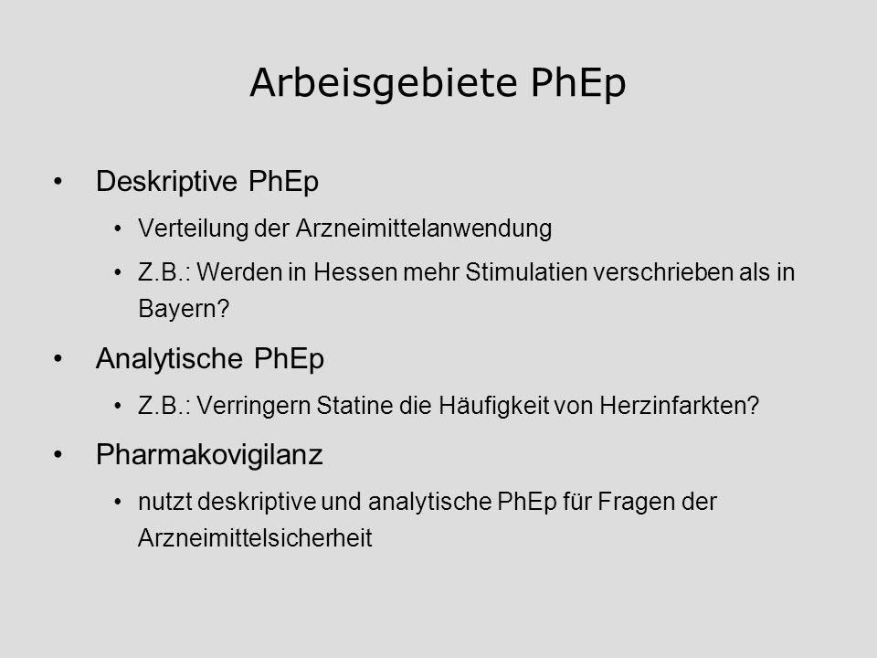 Arbeisgebiete PhEp Deskriptive PhEp Verteilung der Arzneimittelanwendung Z.B.: Werden in Hessen mehr Stimulatien verschrieben als in Bayern? Analytisc