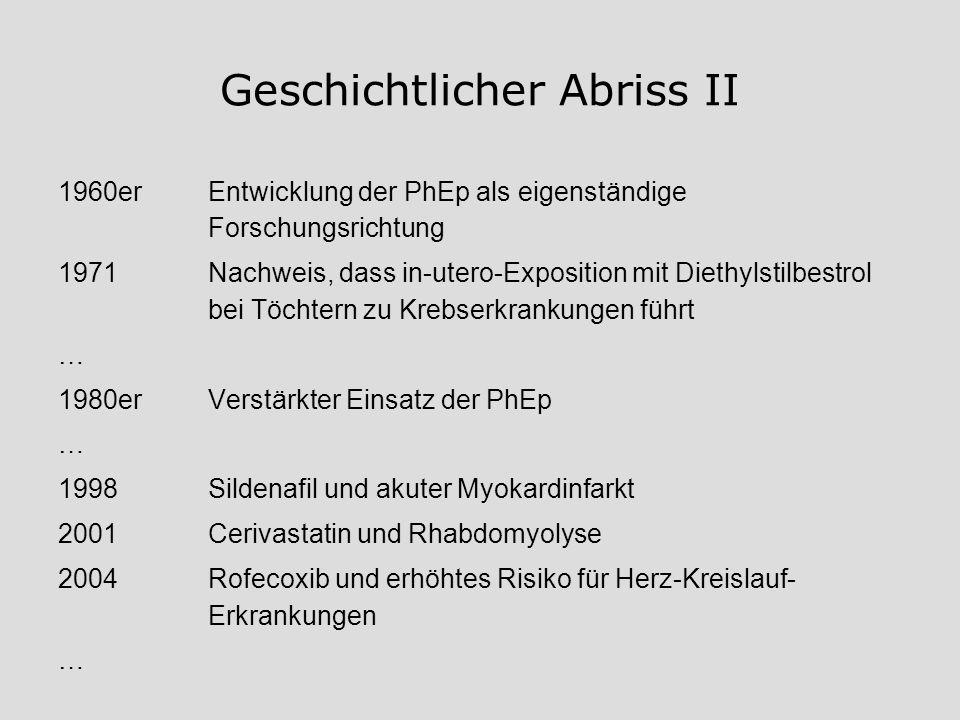 Geschichtlicher Abriss II 1960erEntwicklung der PhEp als eigenständige Forschungsrichtung 1971Nachweis, dass in-utero-Exposition mit Diethylstilbestro