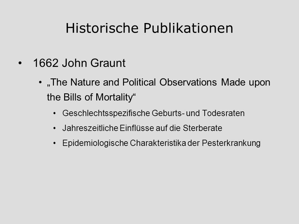 Historische Publikationen 1662 John Graunt The Nature and Political Observations Made upon the Bills of Mortality Geschlechtsspezifische Geburts- und