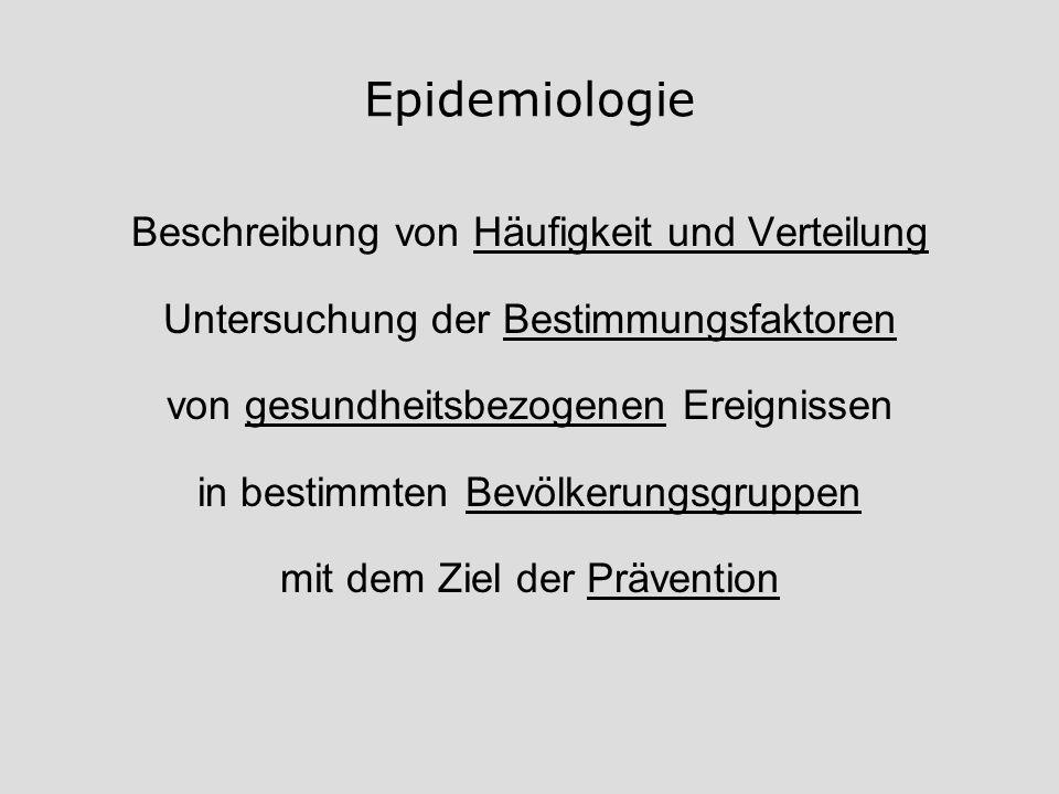 Epidemiologie Beschreibung von Häufigkeit und Verteilung Untersuchung der Bestimmungsfaktoren von gesundheitsbezogenen Ereignissen in bestimmten Bevöl
