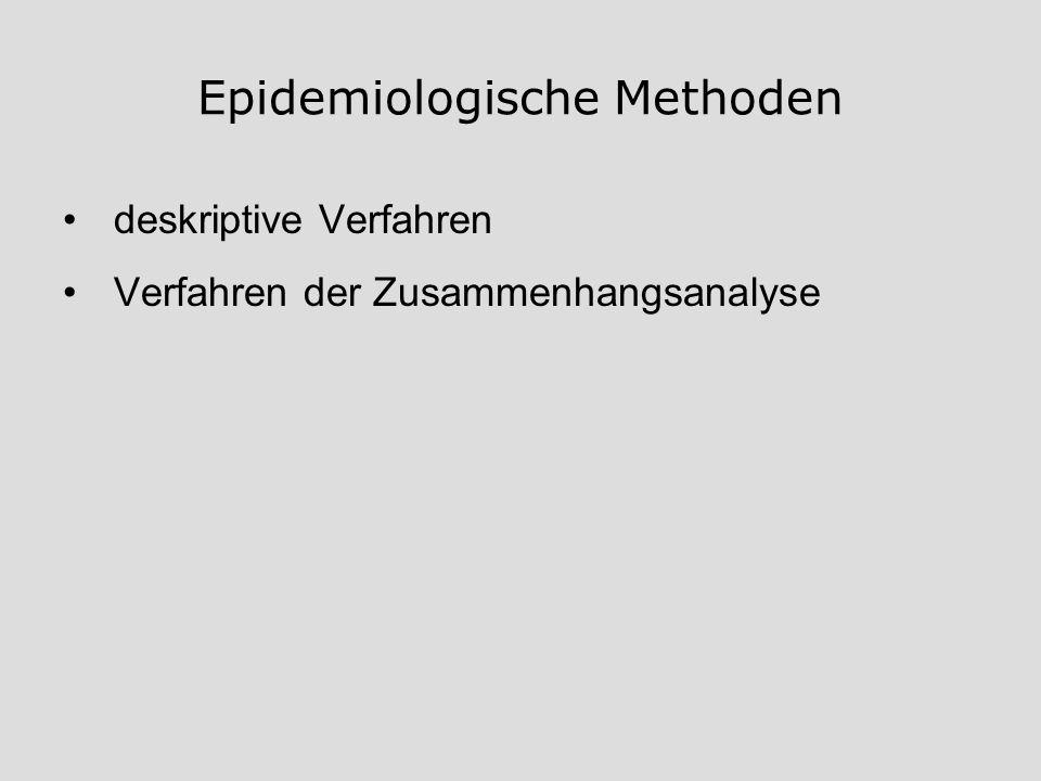 Epidemiologische Methoden deskriptive Verfahren Verfahren der Zusammenhangsanalyse