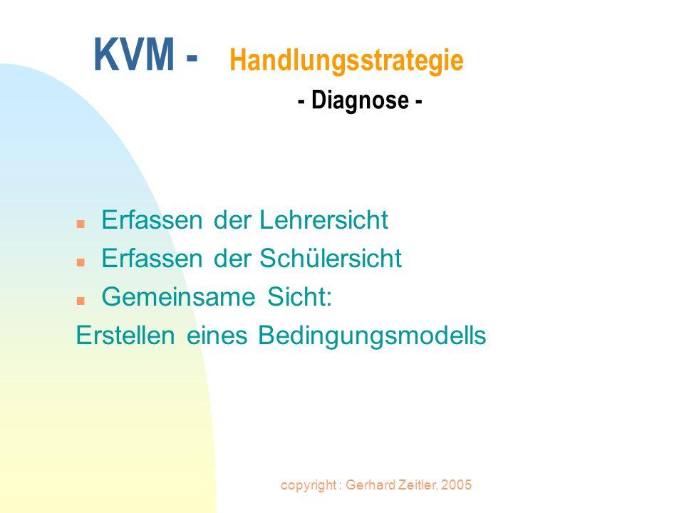 copyright : Gerhard Zeitler, 2005 KVM - Handlungsstrategie - Diagnose - n Erfassen der Lehrersicht n Erfassen der Schülersicht n Gemeinsame Sicht: Ers