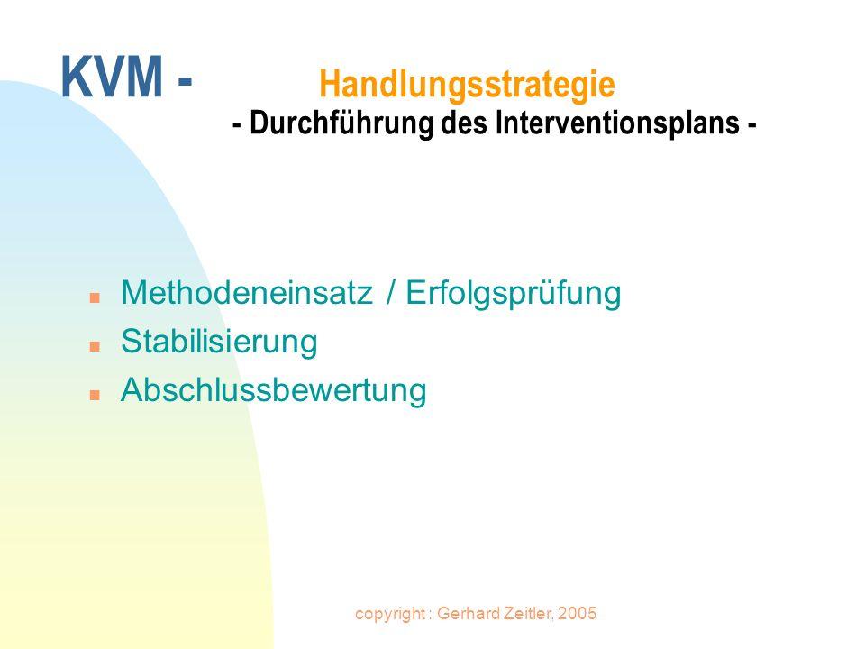 copyright : Gerhard Zeitler, 2005 KVM - Handlungsstrategie - Durchführung des Interventionsplans - n Methodeneinsatz / Erfolgsprüfung n Stabilisierung