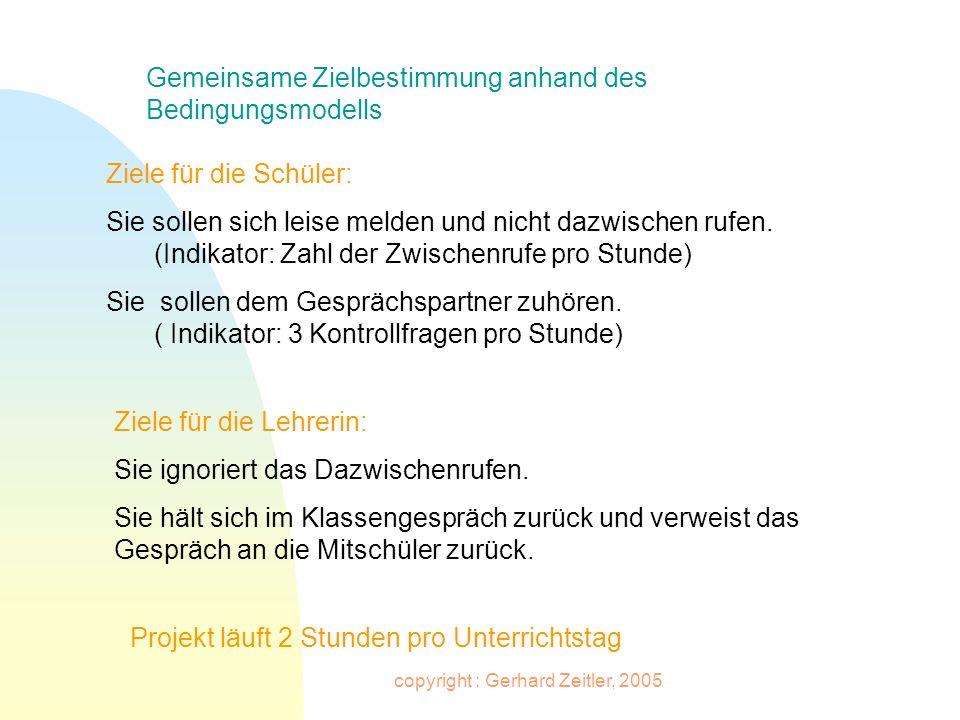 copyright : Gerhard Zeitler, 2005 Gemeinsame Zielbestimmung anhand des Bedingungsmodells Ziele für die Schüler: Sie sollen sich leise melden und nicht