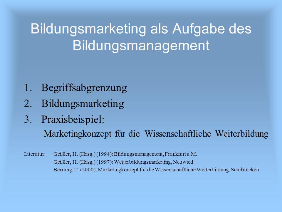Bildungsmarketing als Aufgabe des Bildungsmanagement 1.Begriffsabgrenzung 2.Bildungsmarketing 3.Praxisbeispiel: Marketingkonzept für die Wissenschaftl
