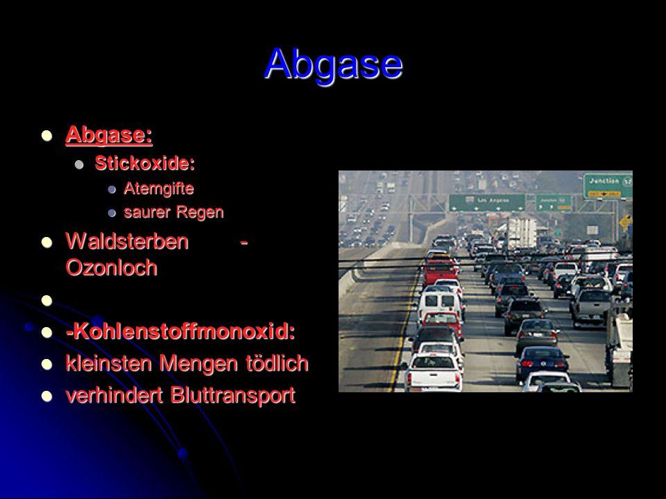Abgase Abgase: Abgase: Stickoxide: Stickoxide: Atemgifte Atemgifte saurer Regen saurer Regen Waldsterben- Ozonloch Waldsterben- Ozonloch -Kohlenstoffm