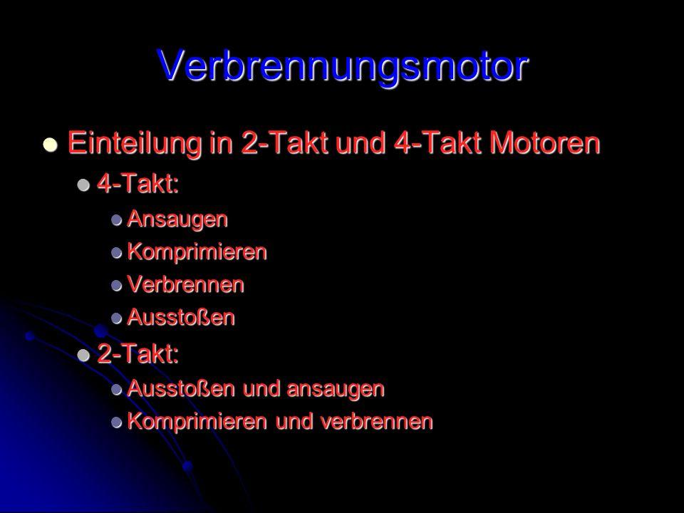Verbrennungsmotor Einteilung in 2-Takt und 4-Takt Motoren Einteilung in 2-Takt und 4-Takt Motoren 4-Takt: 4-Takt: Ansaugen Ansaugen Komprimieren Kompr
