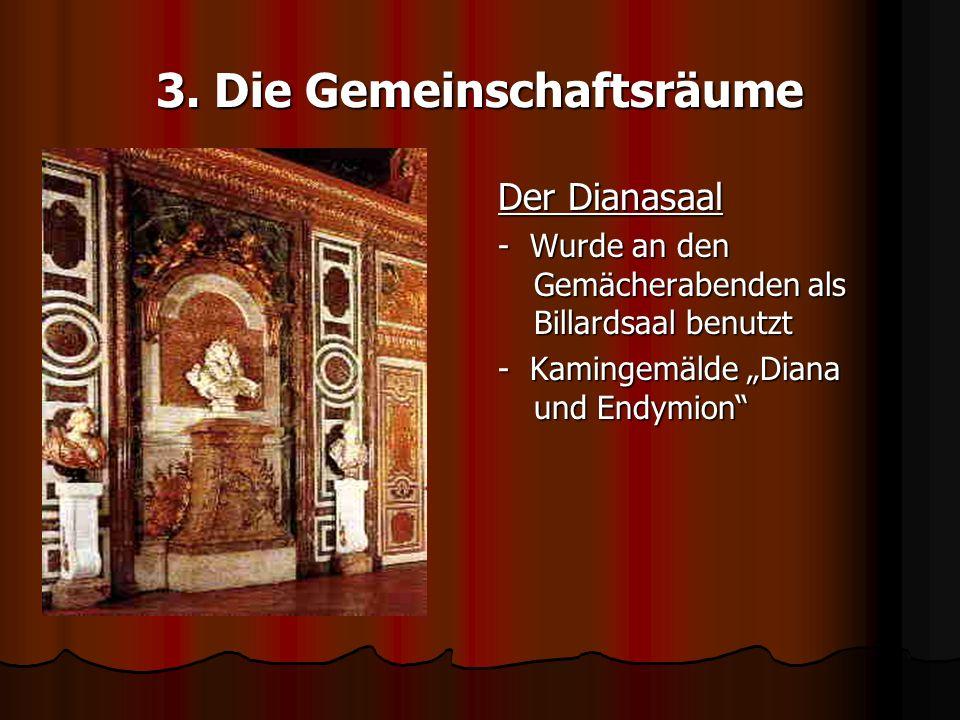 3. Die Gemeinschaftsräume Der Dianasaal - Wurde an den Gemächerabenden als Billardsaal benutzt - Kamingemälde Diana und Endymion
