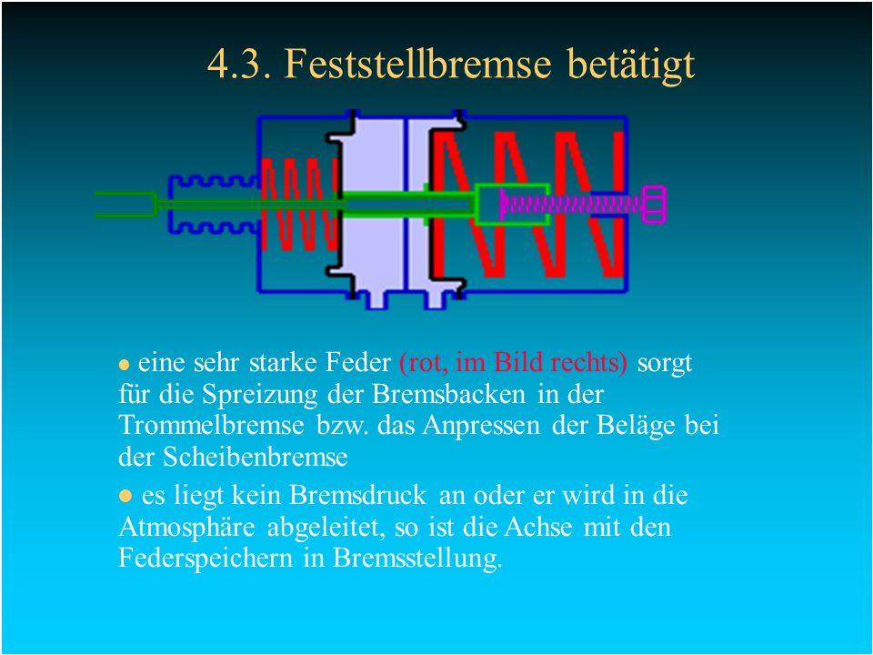 4.3. Feststellbremse betätigt eine sehr starke Feder (rot, im Bild rechts) sorgt für die Spreizung der Bremsbacken in der Trommelbremse bzw. das Anpre