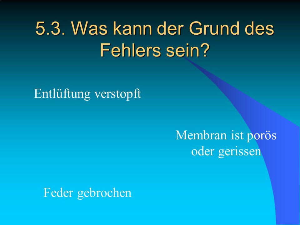 5.3. Was kann der Grund des Fehlers sein? Entlüftung verstopft Feder gebrochen Membran ist porös oder gerissen