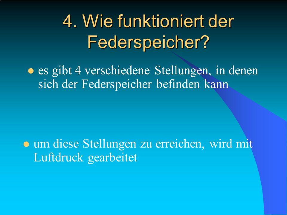 4. Wie funktioniert der Federspeicher? es gibt 4 verschiedene Stellungen, in denen sich der Federspeicher befinden kann um diese Stellungen zu erreich
