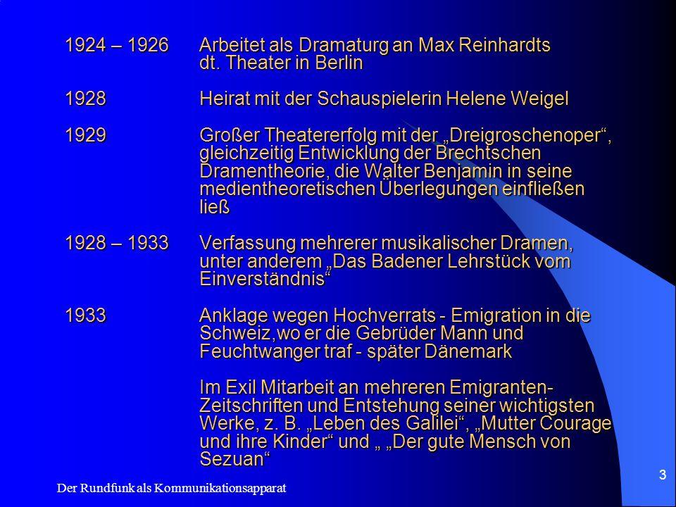 Der Rundfunk als Kommunikationsapparat 3 1924 – 1926Arbeitet als Dramaturg an Max Reinhardts dt. Theater in Berlin 1928Heirat mit der Schauspielerin H
