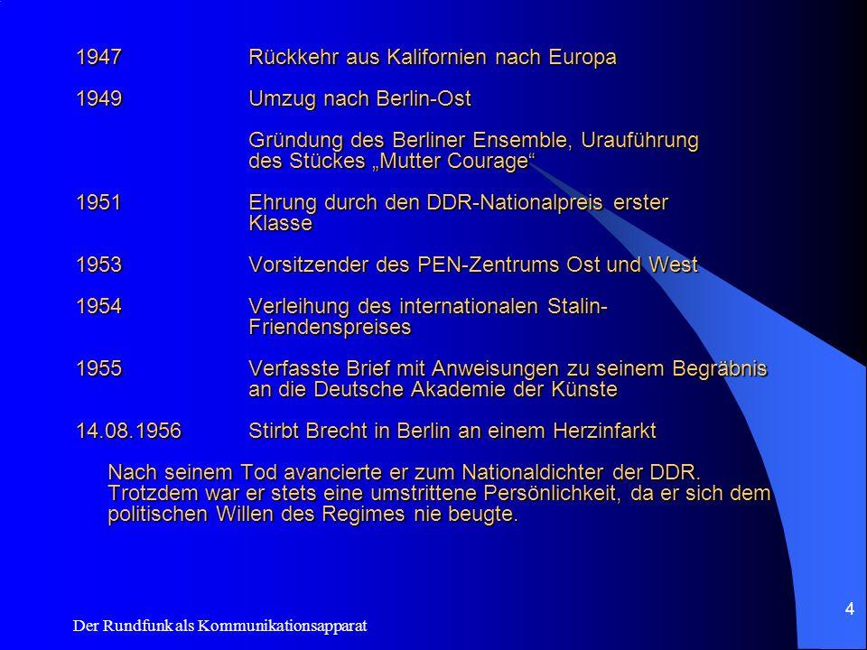 Der Rundfunk als Kommunikationsapparat 4 1947Rückkehr aus Kalifornien nach Europa 1949Umzug nach Berlin-Ost Gründung des Berliner Ensemble, Urauführun
