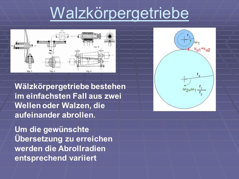 Walzkörpergetriebe Wälzkörpergetriebe bestehen im einfachsten Fall aus zwei Wellen oder Walzen, die aufeinander abrollen. Um die gewünschte Übersetzun