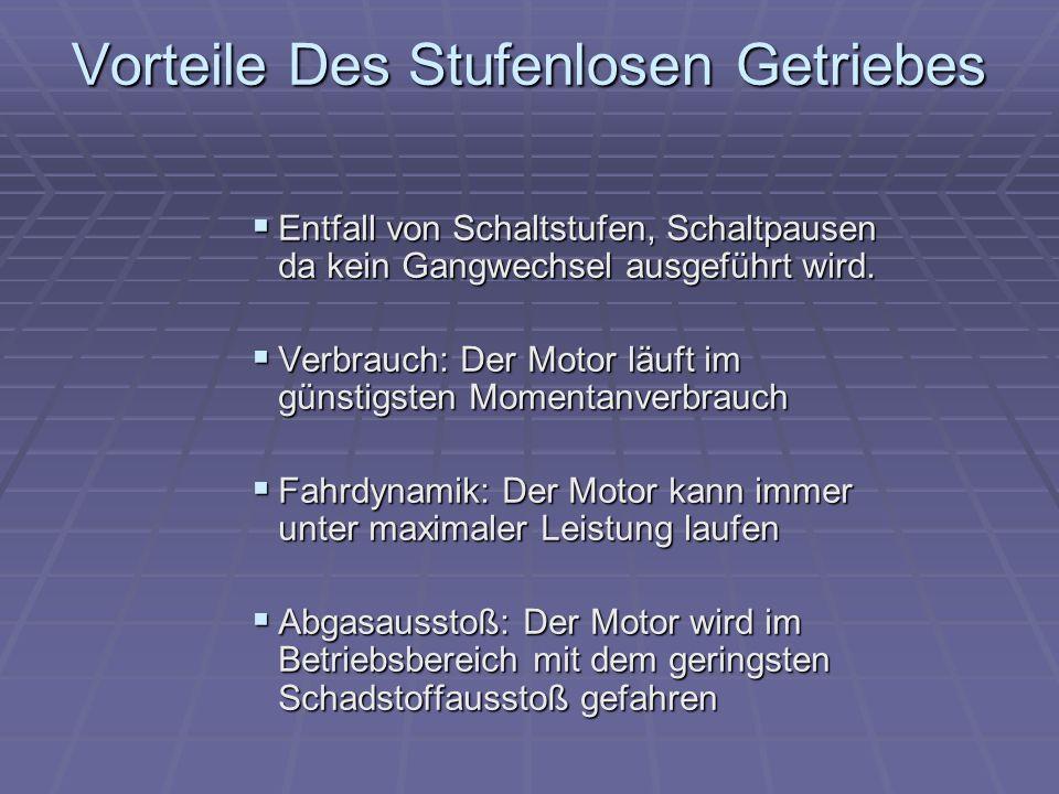 Vorteile Des Stufenlosen Getriebes Entfall von Schaltstufen, Schaltpausen da kein Gangwechsel ausgeführt wird. Entfall von Schaltstufen, Schaltpausen