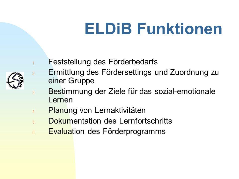 ELDiB Funktionen 1. Feststellung des Förderbedarfs 2. Ermittlung des Fördersettings und Zuordnung zu einer Gruppe 3. Bestimmung der Ziele für das sozi