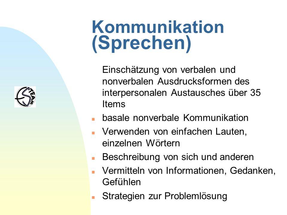 Kommunikation (Sprechen) Einschätzung von verbalen und nonverbalen Ausdrucksformen des interpersonalen Austausches über 35 Items n basale nonverbale K