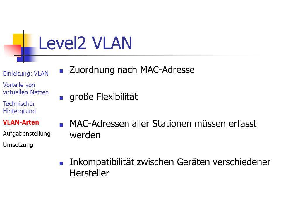 Protokollbasierend Router wird überflüssig Zuordnung über Subnetzadresse oder Portbasierend Einleitung: VLAN Vorteile von virtuellen Netzen Technischer Hintergrund VLAN-Arten Aufgabenstellung Umsetzung