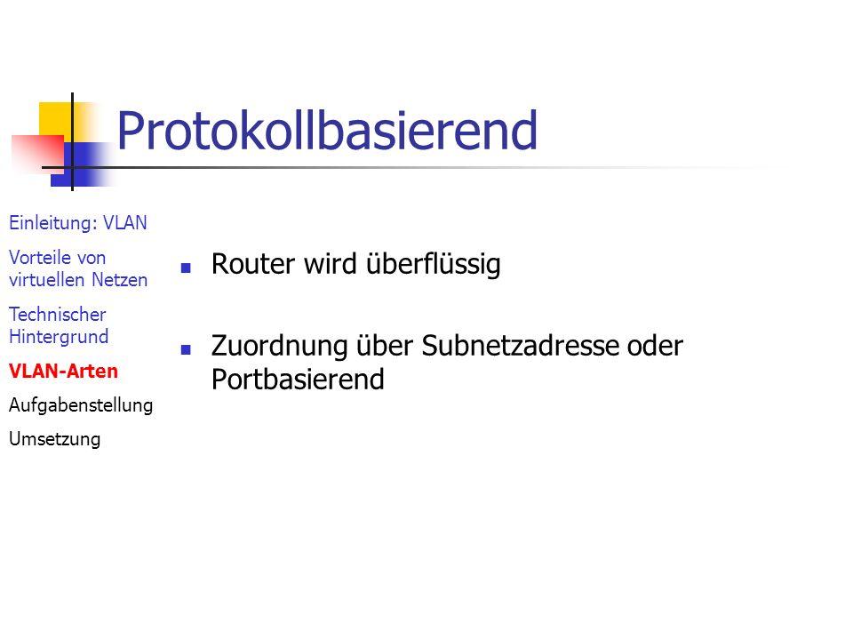Regelbasierend Zuordnung über: Ports MAC- Adresse Protokoll Netzadresse besonders flexibel Aufwendige Einrichtung Einleitung: VLAN Vorteile von virtuellen Netzen Technischer Hintergrund VLAN-Arten Aufgabenstellung Umsetzung