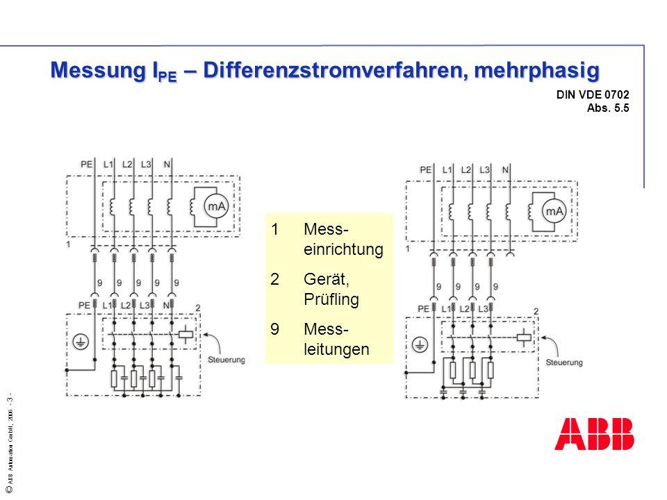 © ABB Automation GmbH, 2006 - 3 - DIN VDE 0702 Abs. 5.5 Messung I PE – Differenzstromverfahren, mehrphasig 1Mess- einrichtung 2Gerät, Prüfling 9Mess-
