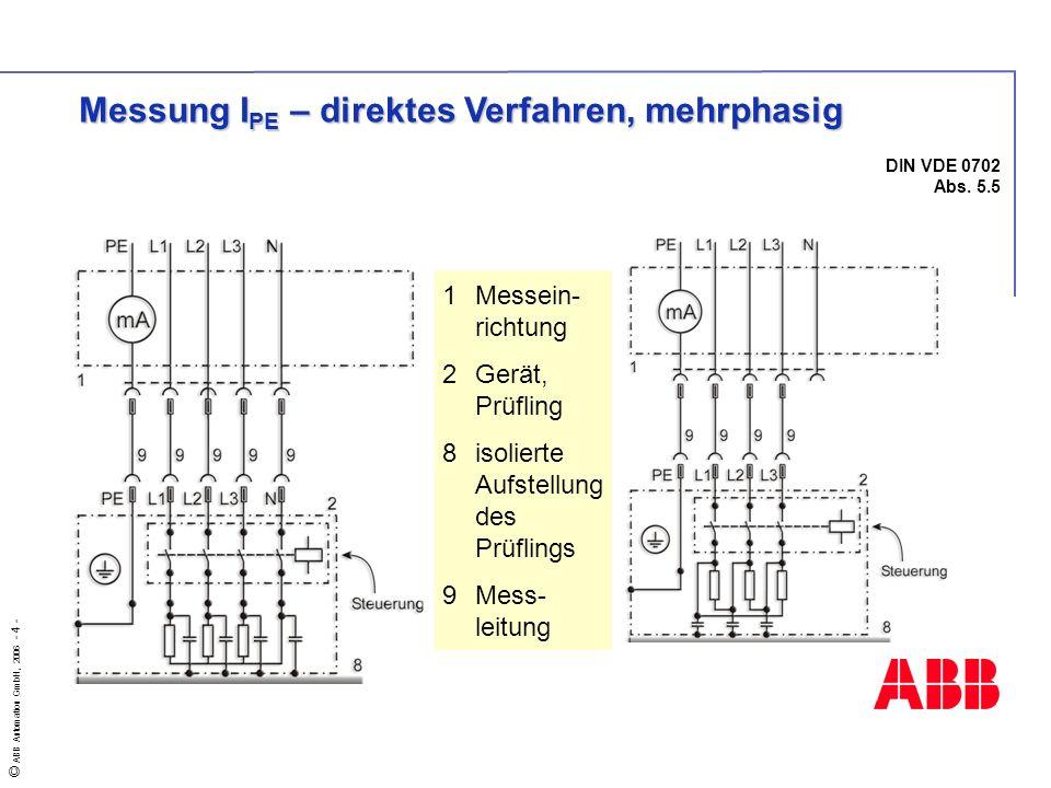 © ABB Automation GmbH, 2006 - 4 - DIN VDE 0702 Abs. 5.5 1Messein- richtung 2Gerät, Prüfling 8isolierte Aufstellung des Prüflings 9Mess- leitung Messun