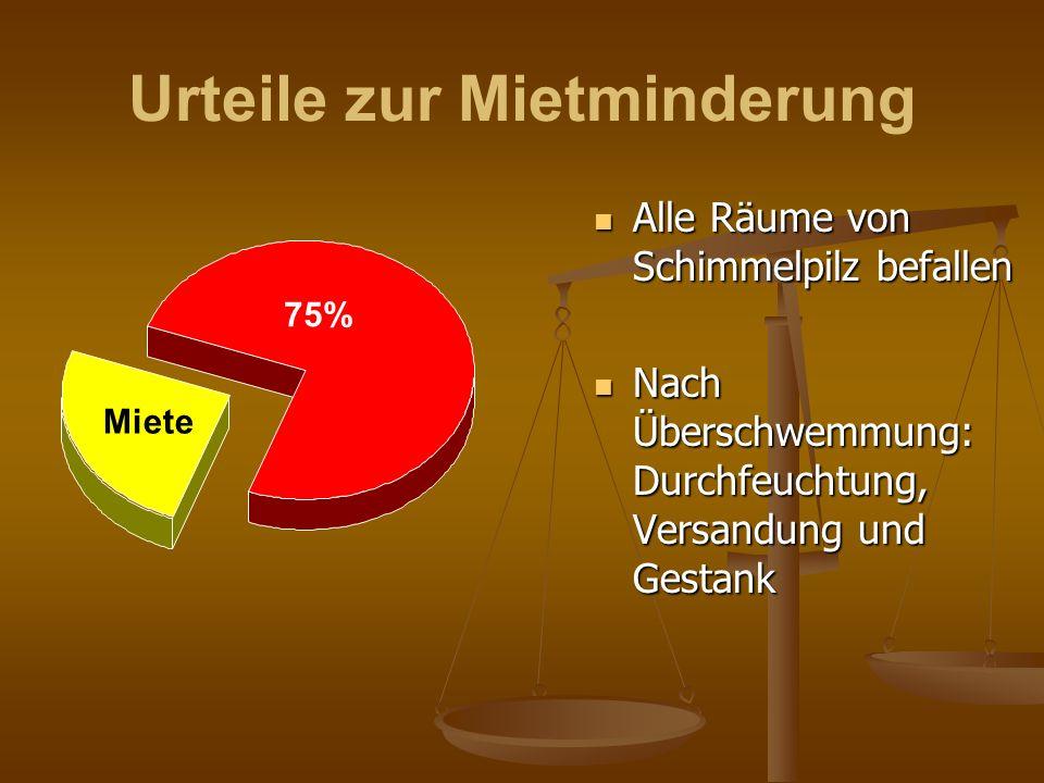 Urteile zur Mietminderung Alle Räume von Schimmelpilz befallen Nach Überschwemmung: Durchfeuchtung, Versandung und Gestank 75% Miete
