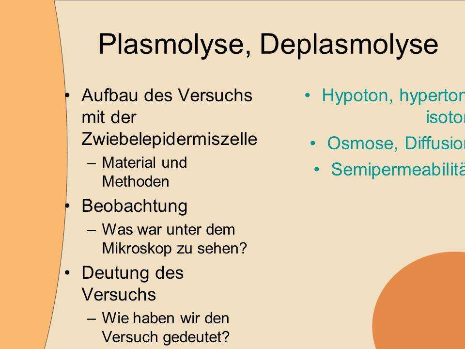 Plasmolyse, Deplasmolyse Aufbau des Versuchs mit der Zwiebelepidermiszelle –Material und Methoden Beobachtung –Was war unter dem Mikroskop zu sehen.