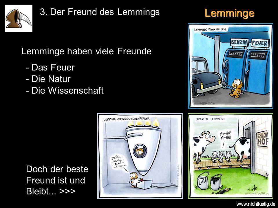 Lemminge 3. Der Freund des Lemmings Doch der beste Freund ist und Bleibt... >>> - Das Feuer - Die Natur - Die Wissenschaft Lemminge haben viele Freund
